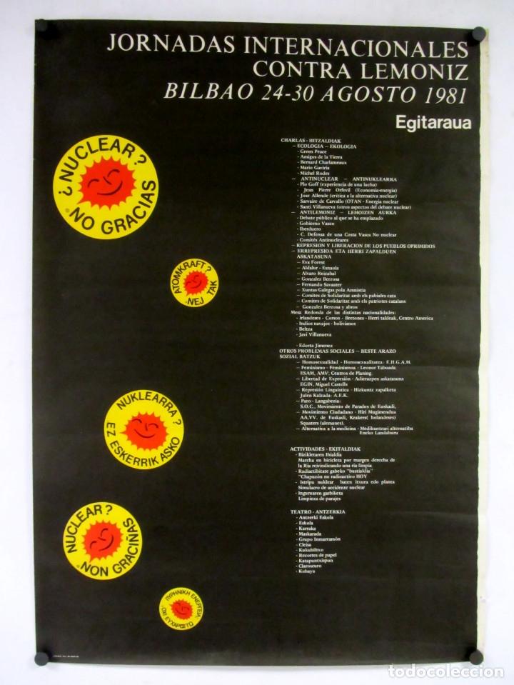 JORNADAS INTERNACIONALES CONTRA LEMONIZ. CARTEL ORIGINAL DEL AÑO 1981 DE 69 X 98 CMS. (Coleccionismo - Carteles Gran Formato - Carteles Varios)