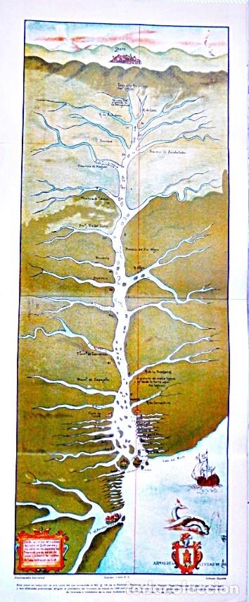 MAPA DEL DESCUBRIMIENTO DEL RIO DE LAS AMAZONAS. POR EL PRESIDENTE DEL CONSEJO DE INDIAS EN 1639 (Coleccionismo - Carteles Gran Formato - Carteles Varios)
