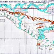 Carteles: CARTEL MAPA DEL RIO AMAZONAS, ESEQUIVO Y DEL ORINOCO DE LAS COMARCAS ADYACENTES.. Lote 181512777