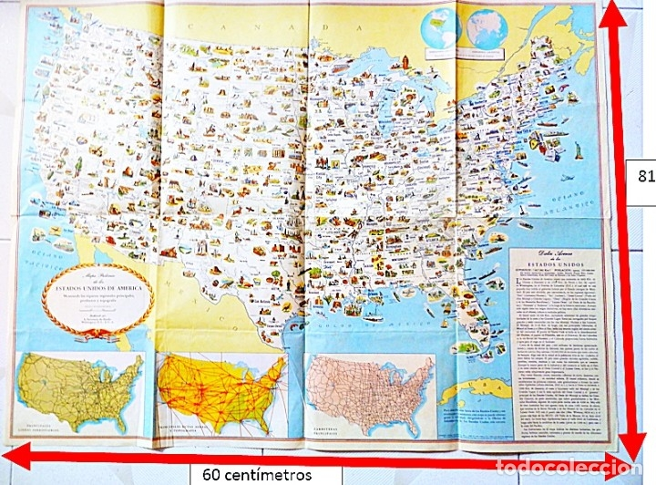 MAPA DE LOS ESTADOS UNIDOS DE AMÉRICA,EN ESPAÑOL PUBLIC POR LA SECRETARÍA DE ESTADO WASHINGTON, D.C. (Coleccionismo - Carteles Gran Formato - Carteles Varios)