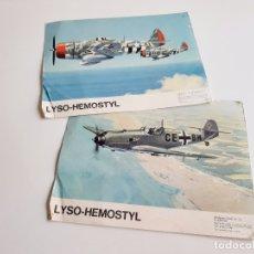 Carteles: DOS POSTCARD CARTULINA VINTAGE AVIONES DE GUERRA LYSO-HEMOSTYL PARIS 1943 - 20.5X27.CM. Lote 181951968