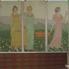 Carteles: 5 CARTELES + CENEFA DE PAPEL MODERNISTA, ART DECO, EMPAPELAR, SE PUEDEN PONER JUNTOS FORMANDO UN PRE. Lote 183057591