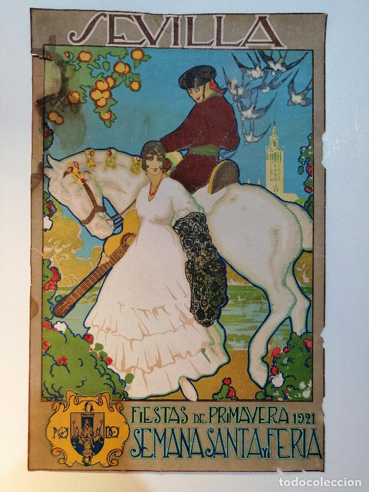 CARTEL ORIGINAL FIESTAS DE PRIMAVERA SEVILLA 1921. JOSÉ MORELL MACÍAS (Coleccionismo - Carteles Gran Formato - Carteles Varios)