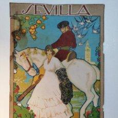 Carteles: CARTEL ORIGINAL FIESTAS DE PRIMAVERA SEVILLA 1921. JOSÉ MORELL MACÍAS. Lote 183431282