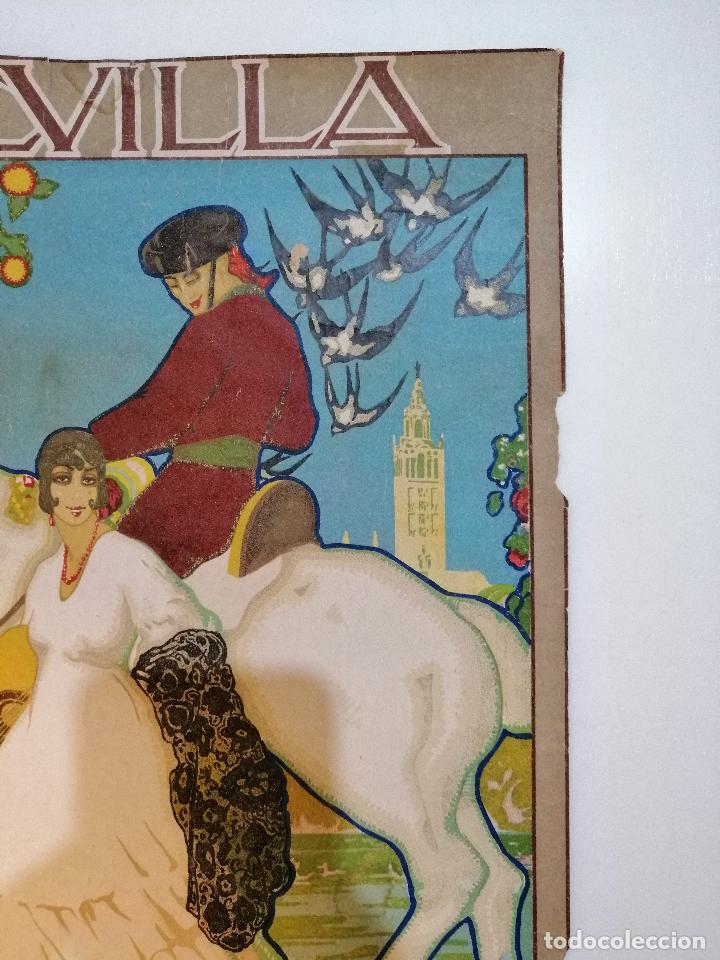 Carteles: CARTEL ORIGINAL FIESTAS DE PRIMAVERA SEVILLA 1921. JOSÉ MORELL MACÍAS - Foto 3 - 183431282