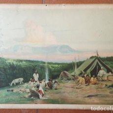 Carteles: ANTIGUA LAMINA ESCUELA ENSEÑANZA DE EXPLORADOR Y TRIBU AFRICA PEGADA SOBRE CARTON DURO,CARTEL POSTER. Lote 184381678