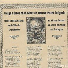Carteles: GOIG - A LLAOR DE LA MARE DE DÉU DE PARET-DELGADA - LA SELVA DEL CAMP. Lote 185886280