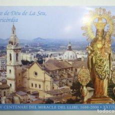 Carteles: CARTEL MARE DE DÉU DE LA SEU, MISERICÒRDIA. IV CENTENARI DEL MIRACLE DEL LLIRI. XÀTIVA 69X48 CM.. Lote 191334802