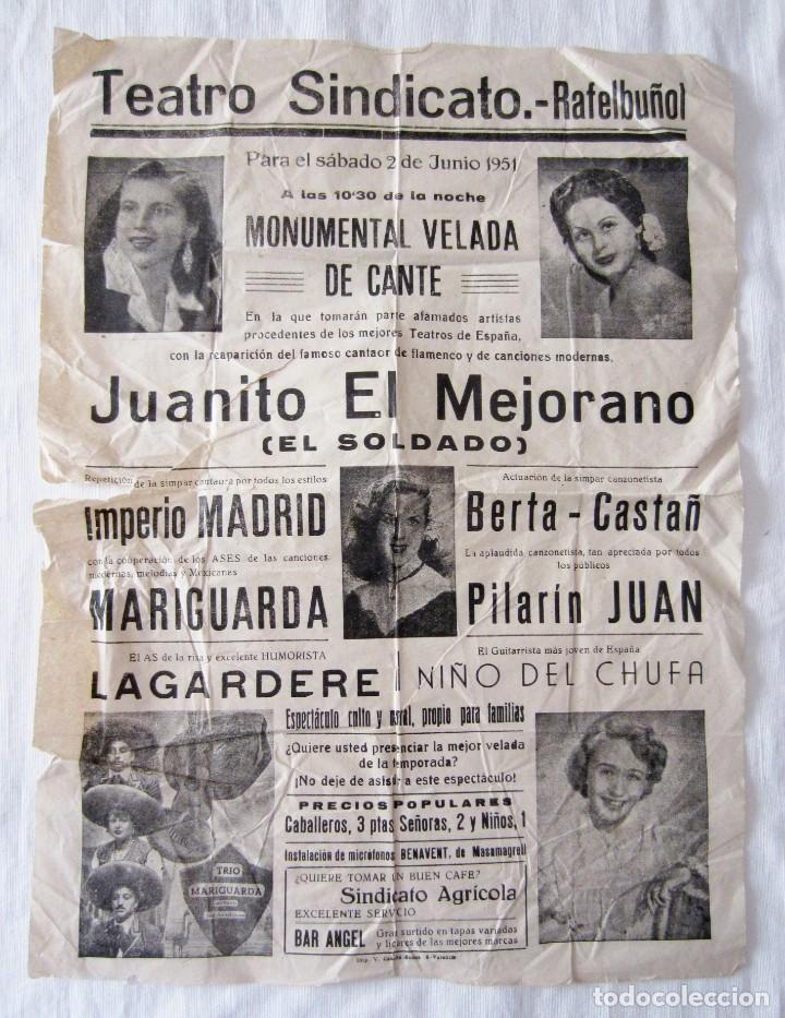 ANTIGUO CARTEL CANTE TEATRO SINDICATO RAFELBUÑOL VALENCIA 1951 JUANITO MEJORANO LAGARDERE MARIGUARDA (Coleccionismo - Carteles Gran Formato - Carteles Varios)