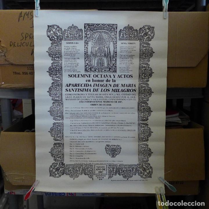 SOLEMNE OCTAVA Y ACTOS EN HONOR DE LA APARECIDA IMAGEN DE MARIA SANTISIMA DE LOS MILAGROS 1987 (Coleccionismo - Carteles Gran Formato - Carteles Varios)