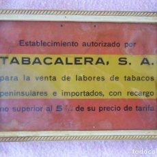 Carteles: ANTIGUO CARTEL TABACALERA,ESTABLECIMIENTO AUTORIZADO,ESTANCO,BANDERA DE ESPAÑA,34X23 CM.. Lote 194221530