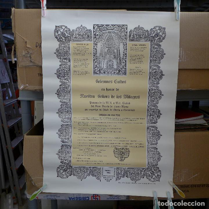 CARTEL DE LOS SOLEMNES CULTOS EN HONOR DE NUESTRA SEÑORA DE LOS MILAGROS 1990 (Coleccionismo - Carteles Gran Formato - Carteles Varios)