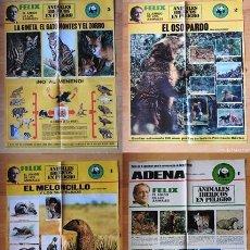Carteles: 4 POSTERS FELIX RODRIGUEZ DE LA FUENTE ADENA. EL AMIGO DE LOS ANIMALES. Lote 194610010