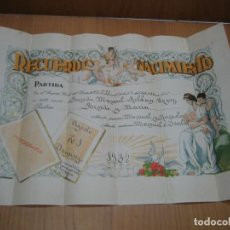 Carteles: DIPLOMA DE NACIMIENTO. MELILLA 1938. Lote 194706483