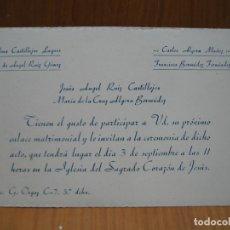 Carteles: ANTIGUA INVITACIÓN DE BODA. MELILLA 1953. Lote 194707265