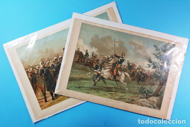 LOTE 2 LAMINAS GUERRA CARLISTA: DESASTRE EN ERAUL Y CARIDAD DE LAS MUJERES DE SALDIAS 1892, CARTEL (Coleccionismo - Carteles Gran Formato - Carteles Varios)