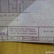 Carteles: ANTIGUO PLANO DE INSTALACIONES DEPORTIVAS COLEGIOS PROVINCIALES. HUERTAS FIGUEROA EN CORDOBA. Lote 194898636