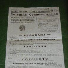 Carteles: LLORET DE MAR 1940 - CONMEMORACION I ANIVERSARIO LIBERACION. Lote 195043870
