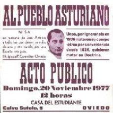 Carteles: [FALANGISMO. HOMENAJE A JOSÉ ANTONIO] AL PUEBLO ASTURIANO. MISA EN MEMORIA DE JOSÉ ANTONIO Y TODOS L. Lote 195245867