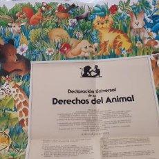 Carteles: CARTEL POSTER DECLARACIÓN DERECHOS DEL ANIMAL 1986 ADDA. Lote 195462291