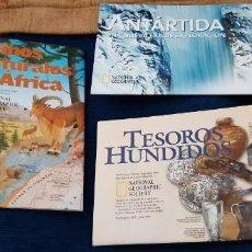 Carteles: LOTE 3 PÓSTER DESPLEGABLES NATIONAL GEOGRAPHIC TESOROS HUNDIDOS ANTARTIDA REINOS NATURALES ÁFRICA . Lote 195465645