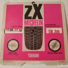 Carteles: 2 DISCOS CONTROL HORA CON PUBLICIDADAD NEUMÁTICOS MICHELIN. Lote 195518813