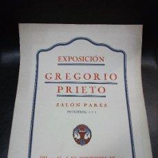 Carteles: 1921 CARTEL EXPOSICIÓN DE GREGORIO PRIETO EN BARCELONA SALON PARÉS - ARTE. Lote 196205226