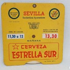 Cartazes: DISCO ESTACIONAMIENTO AYUNTAMIENTO DE SEVILLA CERVEZA ESTRELLA DEL SUR. Lote 196361388