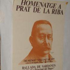 Carteles: POSTER - CARTEL - HOMENATGE A PRAT DE LA RIBA - CASTELLTERÇOL AÑO 1977. Lote 198952121