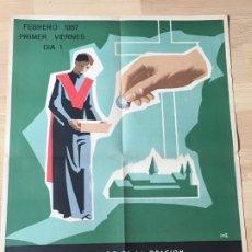 Carteles: (M) CARTEL ORIGINAL - APOSTOLADO DE LA ORACIÓN - INTENCIÓN MISIONAL IGLESIA EN AFRICA FEBRERO 1957. Lote 199465597