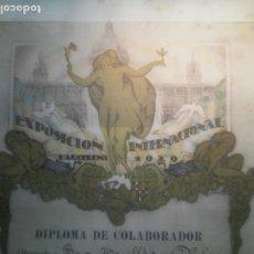 Carteles: CARTEL DIPLOMA EXPOSICION INTERNACIONAL DE BARCELONA AÑO 1929 - TRULLAS Y PALAU.. Lote 202348663