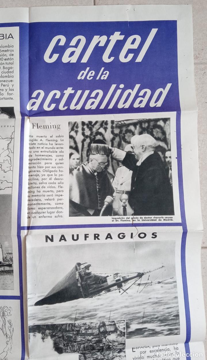 Carteles: GRAN CARTEL DE LA ACTUALIDAD. MURAL EDUCATIVO. NÚMERO 10 MAYO 1955. CON SU GUÍA. 112 X 77 - Foto 2 - 203317162