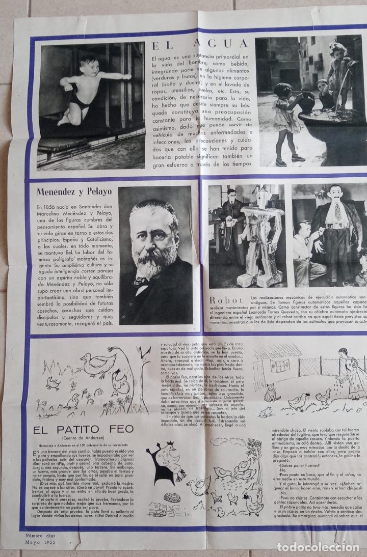Carteles: GRAN CARTEL DE LA ACTUALIDAD. MURAL EDUCATIVO. NÚMERO 10 MAYO 1955. CON SU GUÍA. 112 X 77 - Foto 3 - 203317162