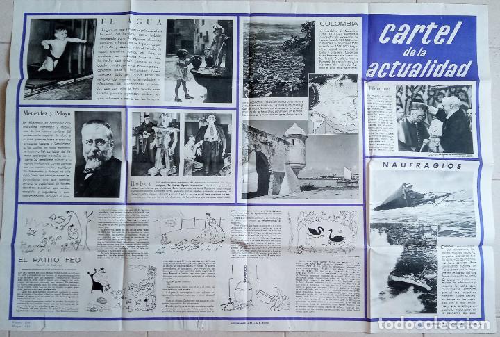 GRAN CARTEL DE LA ACTUALIDAD. MURAL EDUCATIVO. NÚMERO 10 MAYO 1955. CON SU GUÍA. 112 X 77 (Coleccionismo - Carteles Gran Formato - Carteles Varios)