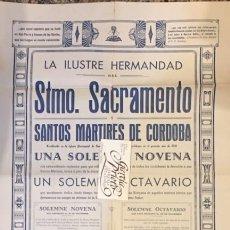 Affissi: CARTEL DE LA ILUSTRE HERMANDAD DEL SACRAMENTO DE CORDOBA 1941 NOVENA Y OCTAVARIO SECO Y HERRERA. Lote 204657116