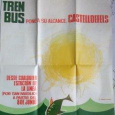 Affissi: CARTEL DE FERROCARRILES CATALANES.CASTELLDEFELS.1965.MIDE 64,5X50,5CM.MUY BUEN ESTADO.. Lote 217233073