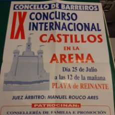 Carteles: BARREIROS LUGO CARTEL CONCURSO INTERNACIONAL CASTILLOS ARENA REINANTE COCACOLA VOZ ARENAL. Lote 218876585