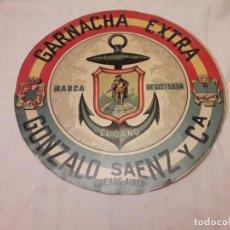 Affissi: ANTIGUO CARTEL CIRCULAR VINO EL CANO GARNACHA EXTRA GONZALO SAENZ Y CA BUENOS AIRES 27CM. Lote 221607683