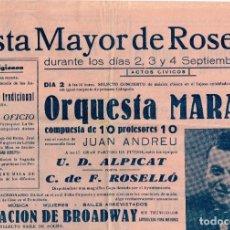 Carteles: 1954 CARTEL FIESTA MAYOR DE ROSELLÓ DÍAS 2, 3 Y 4 DE SEPTIEMBRE, MÚSICA, MUJERES BAILES ARREVISTADOS. Lote 222426028