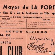 Carteles: 1954 CARTEL FIESTA MAYOR DE LA PORTELLA 22 Y 23 DE SEPTIEMBRE. Lote 222430985