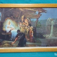 Carteles: LÁMINA SEIX BARRAL, EL NACIMIENTO DEL NIÑO JESÚS, EDICIONES LINACERO, 84 X 43 CM, ENMARCADA. Lote 223826817