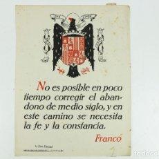 Carteles: FRANQUISMO - LA FRASE QUINCENAL - AÑO 1948. TAMAÑO: 23,5X31,5 CM.. Lote 226398136