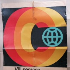 Carteles: GRAN CARTEL 68X99CMS SEMANA CINE COLOR BARCELONA 1966. Lote 227197885