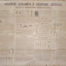Carteles: T - ASSOCIACIÓ CATALANISTA D'EXCURSIONS CIENTÍFICAS - FULLA D'INSTRUCCIÓ ARQUEOLÓGICA - MAIG 1881. Lote 232342945