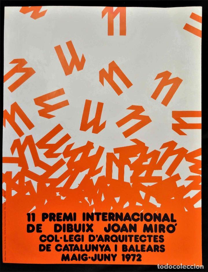 CARTEL 11 PREMI INTERNACIONAL DE DIBUIX JOAN MIRÓ - ARQUITECTES CAT. I BALEARS - LITOGRAFIA, 1972. (Coleccionismo - Carteles Gran Formato - Carteles Varios)