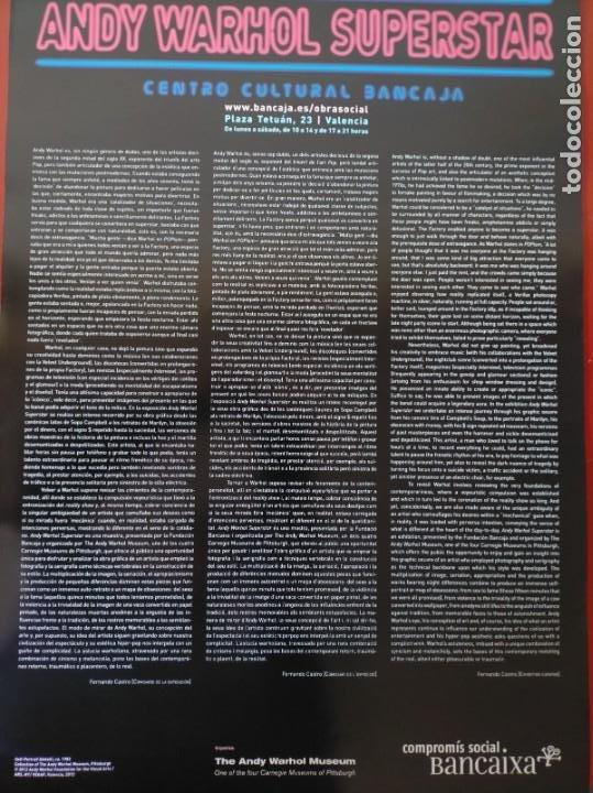 Carteles: CARTEL-- ANDY WARHOL -- SUPERESTAR -- 60x42 cm -- PERFECTO ESTADO - Foto 2 - 232626280