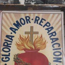 Carteles: CARTEL SAGRADO CORAZÓN JESÚS CADIZ CERÓN GLORIA AMOR REPARACIÓN 33X47. Lote 234353145