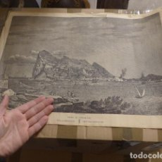 Carteles: ANTIGUO CARTEL GRABADO DE VISTAS DE GIBRALTAR DE SIGLO XVIII, ORIGINAL. Lote 234816445