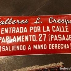 """Carteles: CHAPA ESMALTADA ABOMBADA """"TALLERES CRESPO"""", BARCELONA. Lote 236911535"""