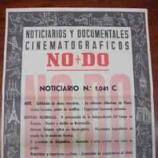 Carteles: CARTEL NO DO NOTICIARIOS Y DOCUMENTALES CINEMATOGRAFICOS NODO CINE Nº 1.041 C TOROS CASTILLOS 1962. Lote 248463725